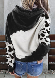 Mooooody Cow Kangaroo Pocket Drawstring Hoodie - Dark Grey