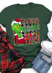 Christmas Resting Grinch Face Leopard Plaid T-Shirt Tee - Green