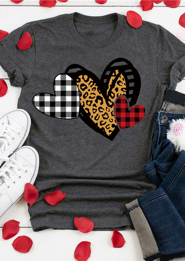 Plaid Leopard Love Heart O-Neck T-Shirt Tee - Gray