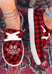 Buffalo Plaid Grinch Slip On Round Toe Flat Sneakers - Red