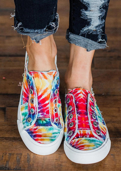 Tie Dye Slip On Round Toe Flat Sneakers
