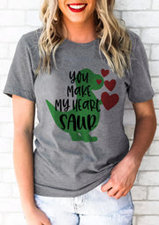 Valentine You Make My Heart Saur Dinosaur T-Shirt Tee - Light Grey
