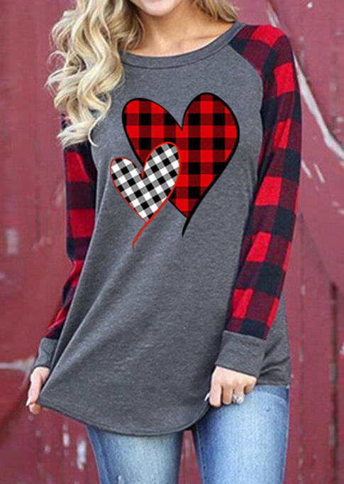Valentine Plaid Splicing Heart Long Sleeve T-Shirt Tee