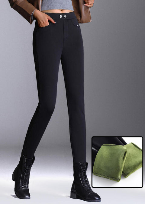 Thickened Warm Pocket Fleece Lined High Waist Leggings - Black