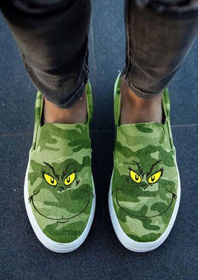 Christmas Grinch Face Camouflage Slip On Casual Canvas Sneakers