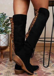 Leopard Splicing Low Heeled Thigh-High Comfortable Boots - Black