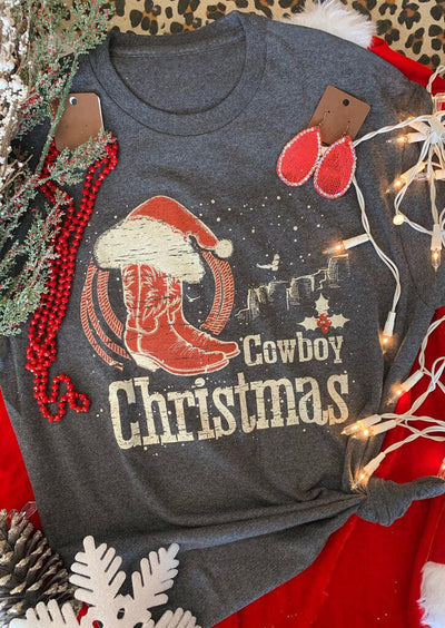 Cowboy Christmas Hat Boots T-Shirt Tee - Gray