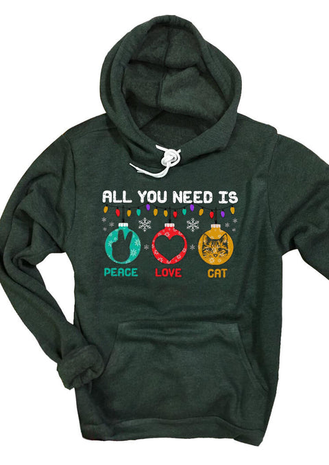 Christmas All You Need Is Peace Love Cat Drawstring Hoodie - Green