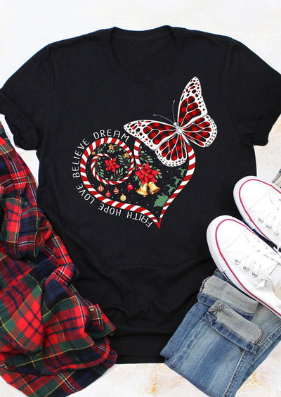Heart Plaid Butterfly Faith Hope Love Believe Dream T-Shirt Tee - Black