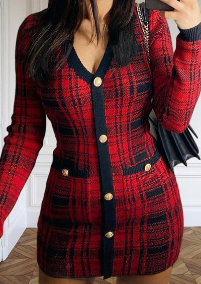 Christmas Buffalo Plaid Button Fake Pocket Mini Dress - Red