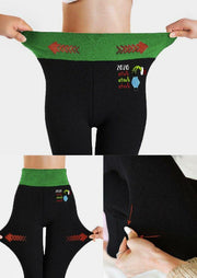 Christmas Grinch Hand Thickened Warm Fleece Lined Leggings - Black
