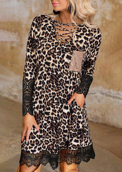Leopard Sequined Pocket Lace Splicing Mini Dress