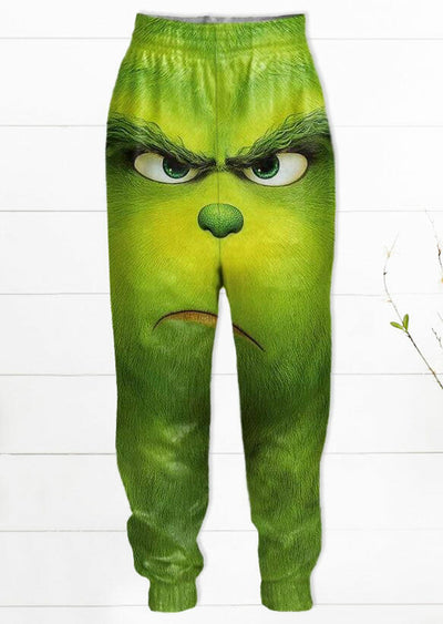 Christmas Grinch Elastic Waist Casual Pants - Green