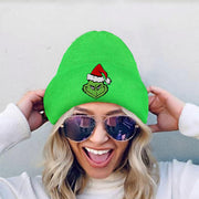 Christmas Resting Grinch Face Knitted Beanie Hat
