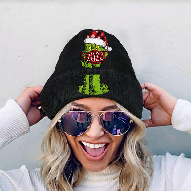 Christmas Grinch Plaid 2020 Warm Knitted Hat