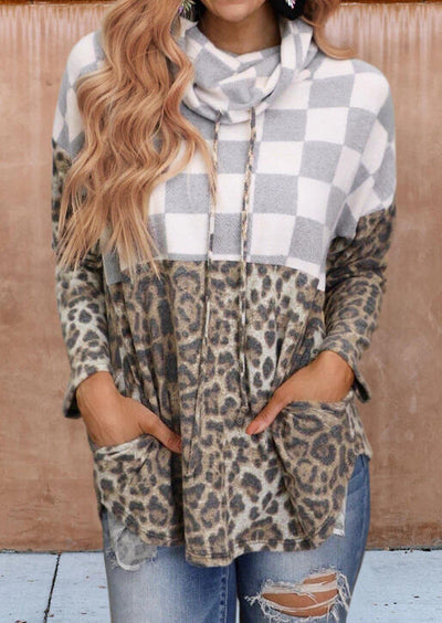 Leopard Plaid Splicing Pocket Drawstring Pullover Sweatshirt