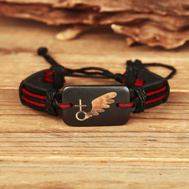 Valentine Vintage Wing Faux Leather Braided Bracelet