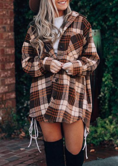 Asymmetric Plaid Button Pocket Long Sleeve Shirt