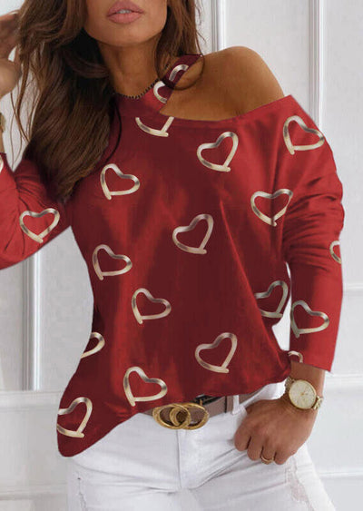 Love Heart One-Sided Cold Shoulder Blouse - Burgundy
