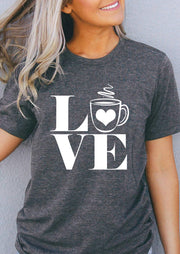 Love Coffee O-Neck Casual T-Shirt Tee - Gray
