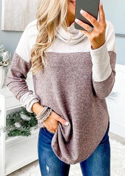 Color Block Cowl Neck Asymmetric Pullover Sweatshirt - White