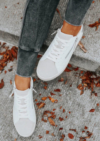 Lace Up Zipper Round Toe Flat Sneakers - White