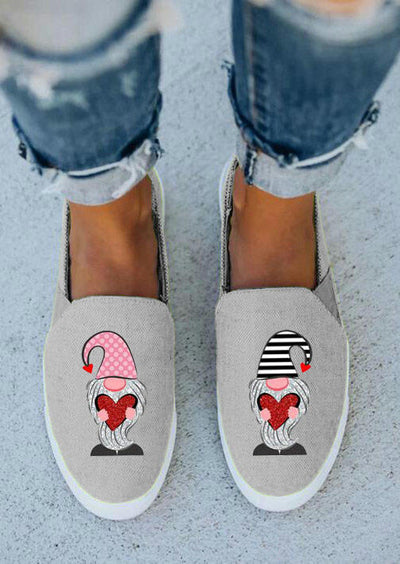 Valentine Gnomies Holding Hearts Slip On Flat Sneakers - Gray