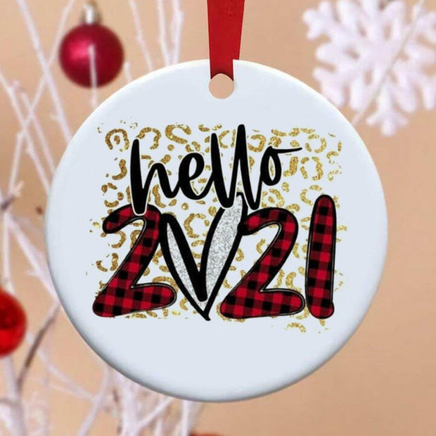 Hello 2021 Leopard Buffalo Plaid Christmas Tree Hanging Ornament