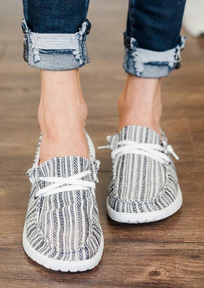Ethnic Style Striped Slip On Flat Sneakers - Gray