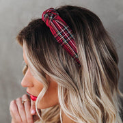 Vintage Plaid Cross Knot Wide Headband