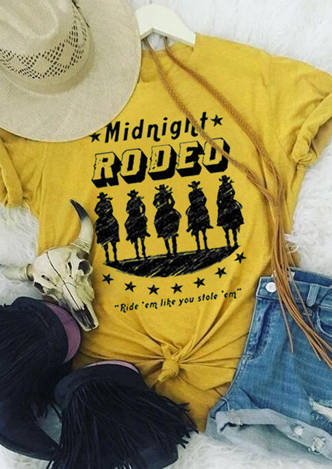 Midnight Rodeo Cowboy Star T-Shirt Tee - Yellow