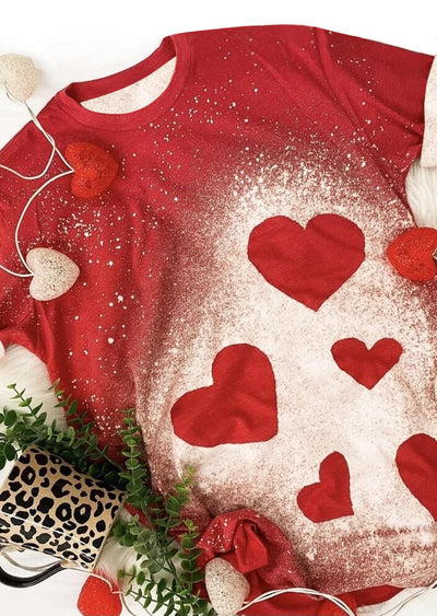 Valentine Bleached Love Heart T-Shirt Tee - Red