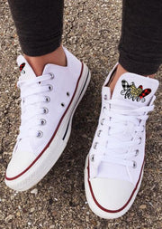 Leopard Plaid Love Heart Lace Up Flat Canvas Sneakers - White