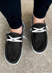 Star Lace Up Round Toe Flat Canvas Sneakers - Dark Grey