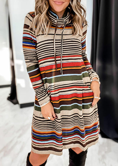 Colorful Striped Cowl Neck Drawstring Pocket Mini Dress