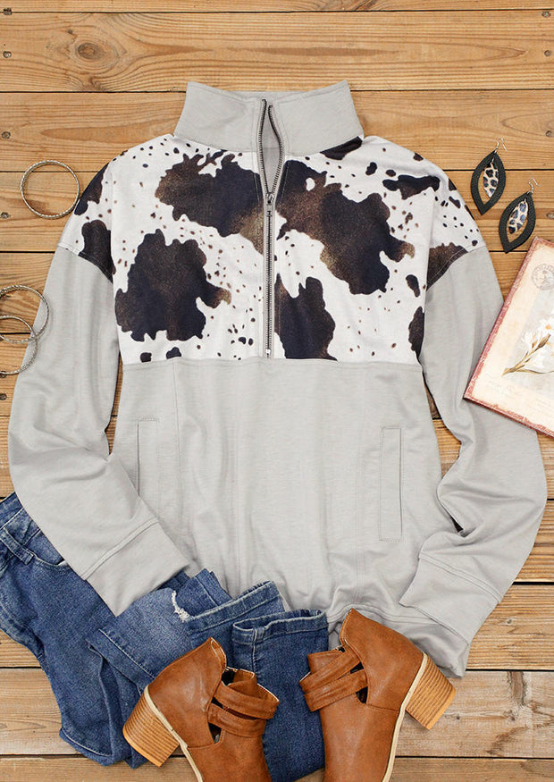Cow Pocket Long Sleeve Zipper Collar Pullover Sweatshirt - Gray