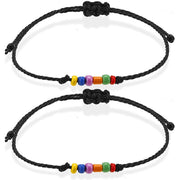 2Pcs Valentine Rainbow Beading Braided Bracelet Set