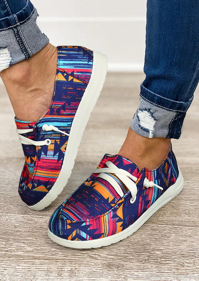 Aztec Geometric Western Slip On Flat Sneakers