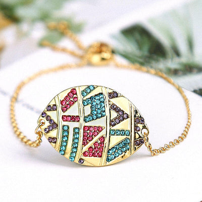 Aztec Tribal Geometric Colorful Rhinestone Bracelet