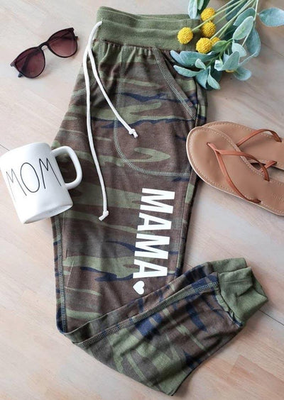 Camouflage Mama Heart Drawstring Pocket Casual Pants