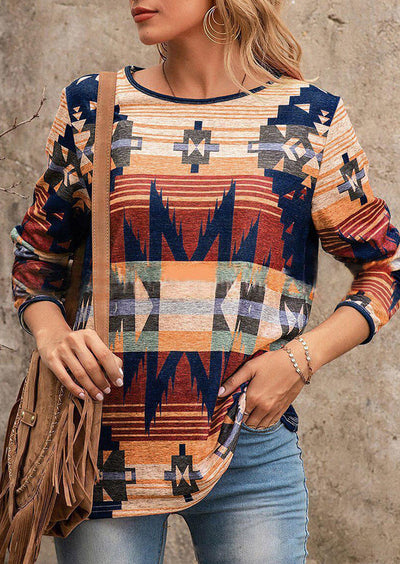 Aztec Geometric Western Long Sleeve Blouse