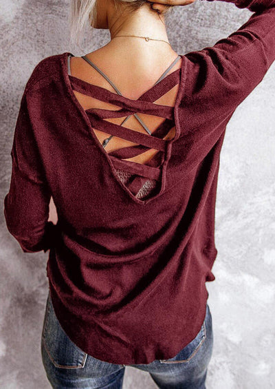 Criss-Cross Open Back Long Sleeve Blouse - Burgundy