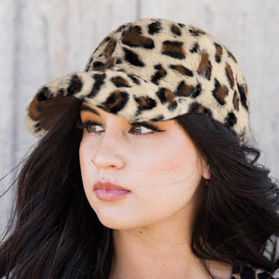 Leopard Hollow Out Adjustable Warm Plush Baseball Cap