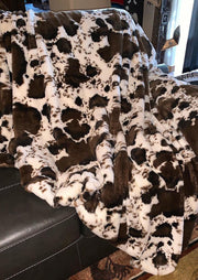 Cow Faux Fur Soft Warm Plush Blanket