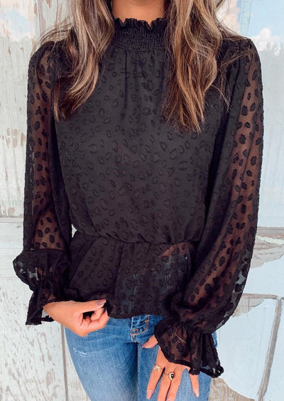 Ruffled Elastic Cuff Long Sleeve O-Neck Blouse - Black