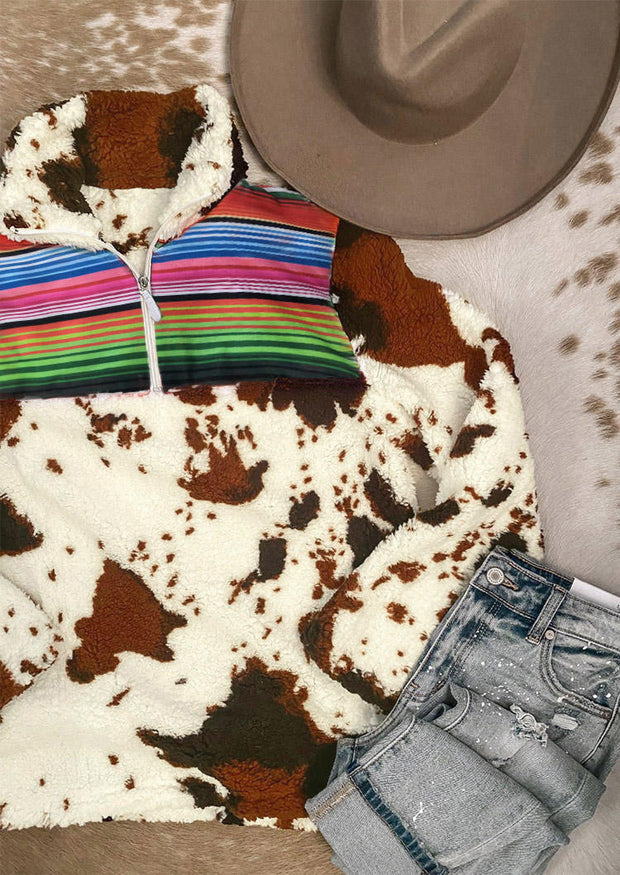 Colorful Striped Splicing Cow Zipper Collar Plush Warm Sweatshirt