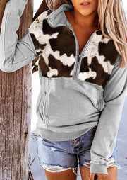 Cow Pocket Long Sleeve Zipper Collar Pullover Sweatshirt - Black