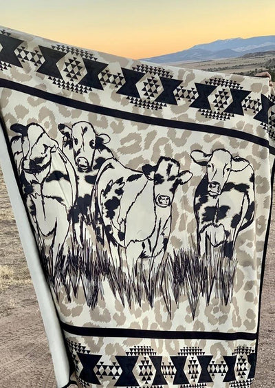 Western Cow Geometric Leopard Warm Blanket