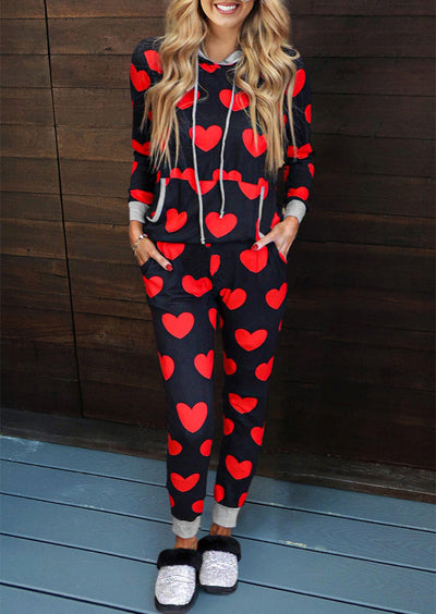 Valentine Heart Drawstring Pocket Hoodie And Pants Pajamas Set