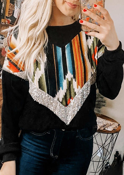 Sequined Aztec Geometric Splicing Western Blouse - Black